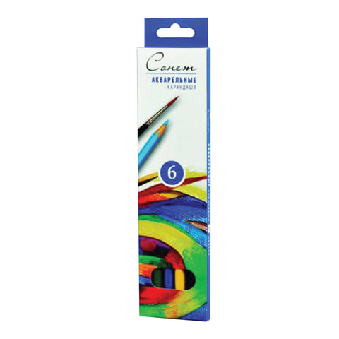 """Карандаши цветные акварельные """"Сонет"""", 6 цветов, картонная упаковка с европодвесом, 8141337"""