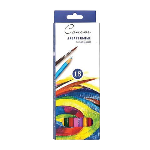 """Карандаши цветные акварельные """"Сонет"""", 18 цветов, картонная упаковка с европодвесом, 8141339"""