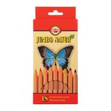"""Карандаши цветные утолщенные KOH-I-NOOR """"Jumbo natur"""", 18 цветов, 5,6 мм, некрашеный корпус, подвес, 2173N18001KZ"""