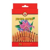 """Карандаши цветные утолщенные KOH-I-NOOR """"Jumbo natur"""", 24 цвета, 5,6 мм, некрашеный корпус, подвес, 2174N24001KZ"""