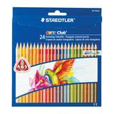 """Карандаши цветные STAEDTLER (Германия) """"Noris club"""", 24 цвета, трехгранные, заточенные, европодвес, 127 NC24"""
