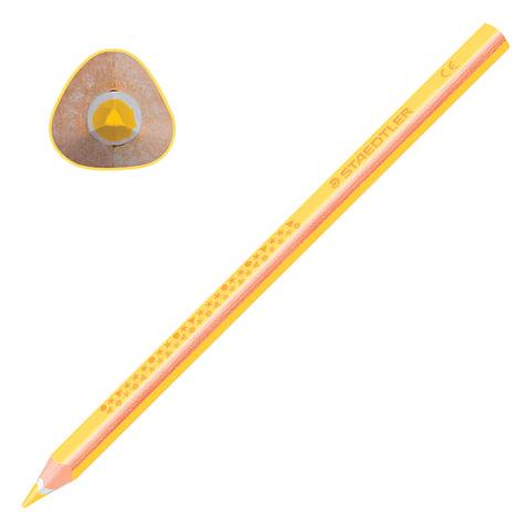 """Карандаш цветной утолщенный STAEDTLER """"Noris club"""", 1 шт., трехгранный, грифель 4 мм, желтый, 1284-1"""