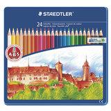 """Карандаши цветные STAEDTLER (Германия) """"Noris club"""", 24 цвета, заточенные, металлический пенал, 145 CM24"""