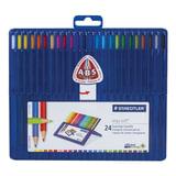 """Карандаши цветные STAEDTLER ПРЕМИУМ """"Ergosoft"""", 24 цвета, трехгранные, пластиковый футляр, 157 SB24"""