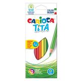 """Карандаши цветные CARIOCA """"Tita"""", 12 цветов, пластиковые, грифель 3 мм, шестигранные, европодвес, 42793"""