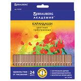 """Карандаши цветные BRAUBERG """"ЦВЕТЫ"""", 24 цвета, трехгранные заточенные, лакированное дерево, 181368"""