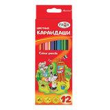 """Карандаши цветные ГАММА """"Мультики"""", 12 цветов, заточенные, трехгранные, картонная упаковка, 050918_07"""