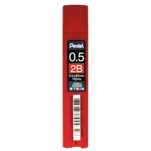 Грифели запасные 0,5 мм, 2B, PENTEL (Япония), КОМПЛЕКТ 12 штук,