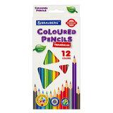 Карандаши цветные BRAUBERG PREMIUM, 12 цветов, трехгранные, грифель мягкий 3,3 мм, 181651