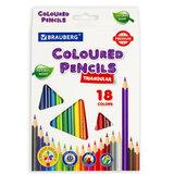 Карандаши цветные BRAUBERG PREMIUM, 18 цветов, трехгранные, грифель мягкий 3,3 мм, 181652