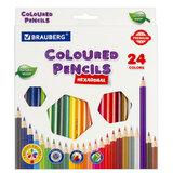 Карандаши цветные BRAUBERG PREMIUM, 24 цвета, шестигранные, грифель мягкий 3,3 мм, 181658
