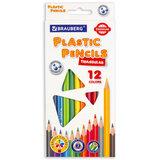 Карандаши цветные пластиковые BRAUBERG PREMIUM, 12 цветов, трехгранные, грифель мягкий 3 мм, 181661