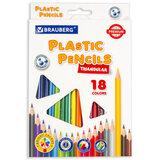 Карандаши цветные пластиковые BRAUBERG PREMIUM, 18 цветов, трехгранные, грифель мягкий 3 мм, 181662