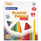 Карандаши цветные пластиковые BRAUBERG PREMIUM, 24 цвета, трехгранные, грифель мягкий 3 мм, 181663
