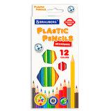 Карандаши цветные пластиковые BRAUBERG PREMIUM, 12 цветов, шестигранные, грифель мягкий 3 мм, 181666