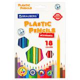 Карандаши цветные пластиковые BRAUBERG PREMIUM, 18 цветов, шестигранные, грифель мягкий 3 мм, 181667