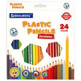 Карандаши цветные пластиковые BRAUBERG PREMIUM, 24 цвета, шестигранные, грифель мягкий 3 мм, 181668