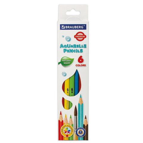 Карандаши цветные акварельные BRAUBERG PREMIUM AQUARELLE, 6 цветов, грифель мягкий 4 мм, 181670.