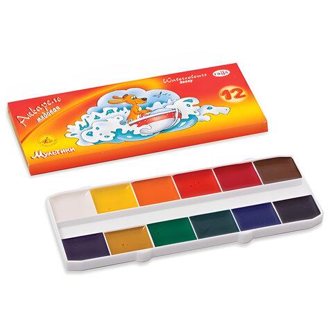"""Краски акварельные ГАММА """"Мультики"""", 12 цветов, медовые, картонная коробка, без кисти, 211048"""