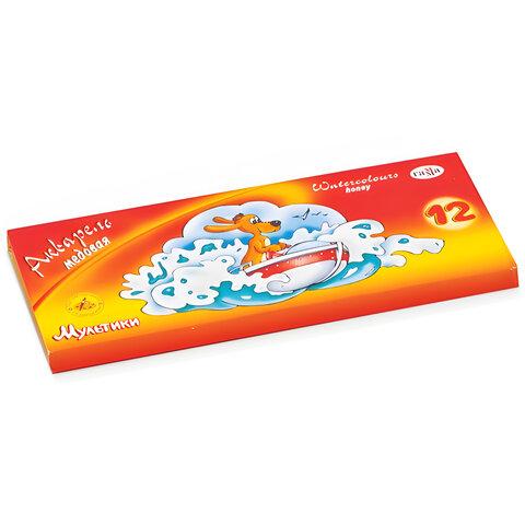 """Краски акварельные ГАММА """"Мультики"""", 12 цветов, медовые, без кисти, картонная коробка, 211048"""