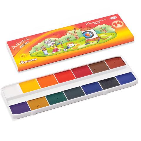 """Краски акварельные ГАММА """"Мультики"""", 14 цветов, медовые, картонная коробка, без кисти, 211050"""