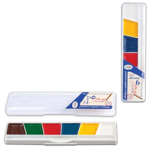 """Краски акварельные ГАММА """"Лицей"""", 6 цветов, медовые, пластиковая коробка, без кисти, 212063"""