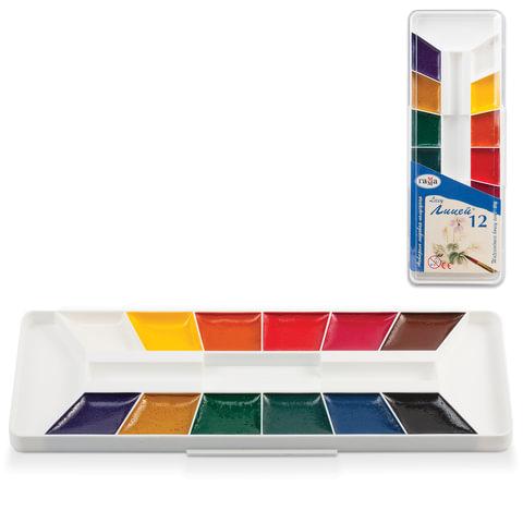 """Краски акварельные ГАММА """"Лицей"""", 12 цветов, медовые, пластиковая коробка, без кисти"""