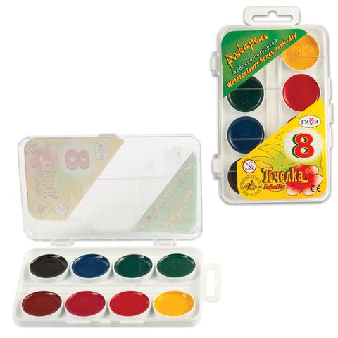 """Краски акварельные ГАММА """"Пчелка"""", 8 цветов, медовые, пластиковая коробка, без кисти, 212068"""