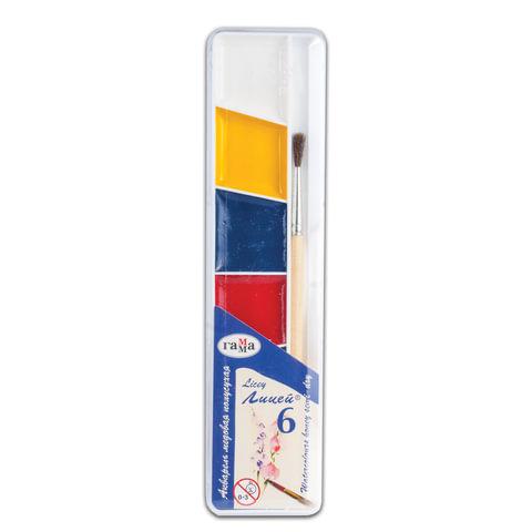 """Краски акварельные ГАММА """"Лицей"""", 6 цветов, медовые, с кистью, пластиковая коробка, 212065"""