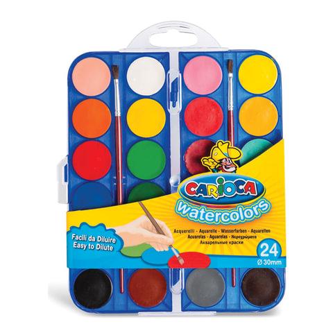 """Краски акварельные CARIOCA """"Watercolor"""", 24 цвета, 2 кисти, пластиковая коробка, европодвес, KO054/A"""
