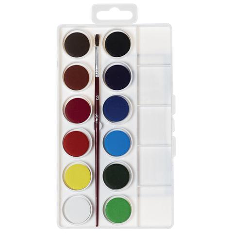 Краски акварельные JOVI (Испания), 12 цветов, с кистью, пластиковая коробка, европодвес, 800/12