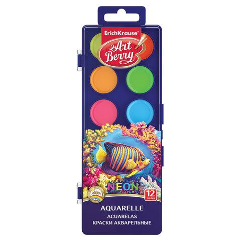 "Краски акварельные ERICH KRAUSE Artberry ""Neon"", 12 цветов, без кисти, пластиковая коробка, 41727"
