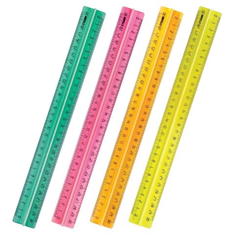"""Линейка СТАММ """"Neon Cristal"""", 30 см, с держателем, неоновая ассорти, ЛН42"""