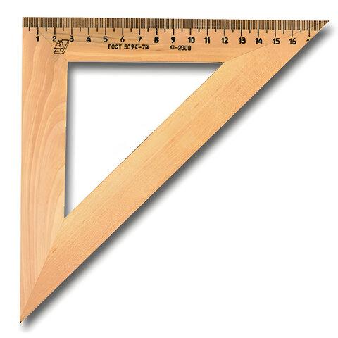 Треугольник деревянный УЧД, угол 45, шкала 18 см, С15