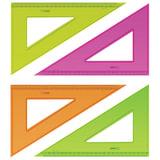"""Треугольник пластиковый, угол 30, 23 см, СТАММ """"Neon Cristal"""", тонированный, прозрачный, неоновый, ассорти, ТК54"""