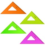"""Треугольник пластиковый, угол 45, 16 см, СТАММ """"Neon Cristal"""", тонированный, прозрачный, неоновый, ассорти, ТК57"""