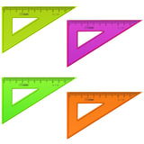 """Треугольник пластиковый, угол 30, 10 см, СТАММ """"Neon"""", тонированный, непрозрачный, неоновый, ассорти, ТК23"""