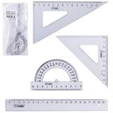 Набор чертежный средний СТАММ (линейка 20 см, 2 угольника, транспортир), прозрачный, НГ13