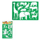 """Трафарет KOH-I-NOOR """"Safari"""", с изображениями диких животных, 315x200 мм, европодвес, 9820001001PS"""