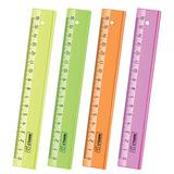 """Линейка пластиковая 16 см, СТАММ """"Neon Cristal"""", прозрачная, неоновая, ассорти, ЛН02"""