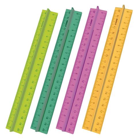 """Линейка пластиковая 20 см, СТАММ """"Neon Cristal"""", с держателем, прозрачная, неоновая, ассорти, ЛН17"""