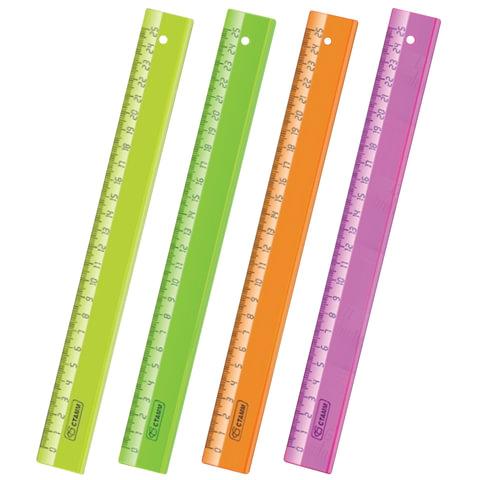 """Линейка пластиковая 25 см, СТАММ """"Neon Crystal"""", прозрачная, неоновая, ассорти, ЛН22"""