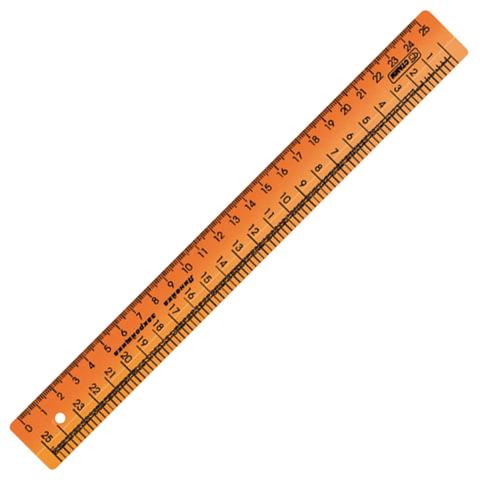 Линейка закройщика пластиковая 25 см, СТАММ, непрозрачная, оранжевая, шкала сантиметровая и масштабная 1:4, ЛН61