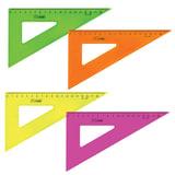"""Треугольник пластиковый, угол 30, 18 см, СТАММ """"Neon Cristal"""", тонированный, прозрачный, неоновый, ассорти, ТК47"""