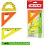 Набор чертежный малый ПИФАГОР (линейка 16 см, 2 треугольника, транспортир), неоновый, европодвес, 210625