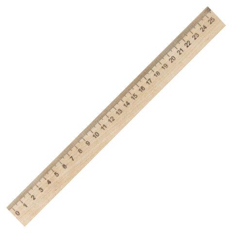 Линейка деревянная 25 см, ПИФАГОР, 210668