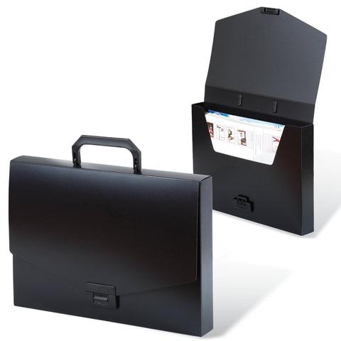 """Портфель пластиковый BRAUBERG """"Energy"""" (БРАУБЕРГ """"Энерджи""""), А4, 256х330 мм, без отделений, черный, 221202"""
