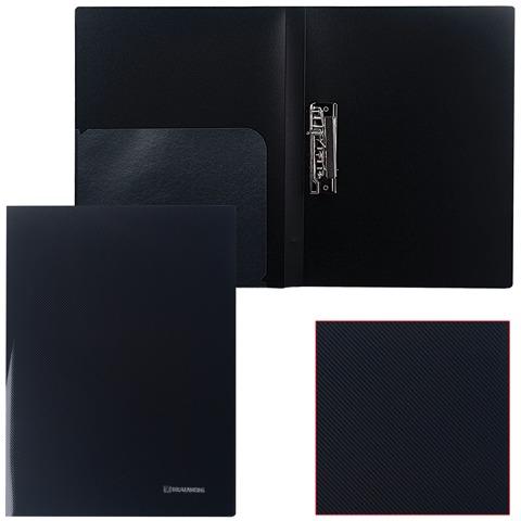 Папка с бок. мет. приж. и внутр. карм. BRAUBERG Диагональ, черная, до 100лист, 0,6мм, 221356