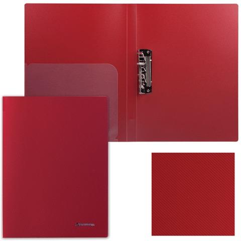 """Папка с боковым металлическим прижимом и внутренним карманом BRAUBERG (БРАУБЕРГ) """"Диагональ"""", темно-красная, до 100 листов, 0,6 мм, 221360"""