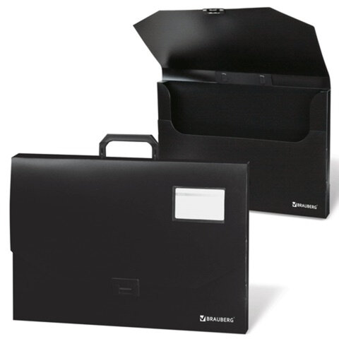 Портфель пластиковый BRAUBERG (БРАУБЕРГ), А3, 450х315х60 мм, без отделений, черный, 221371